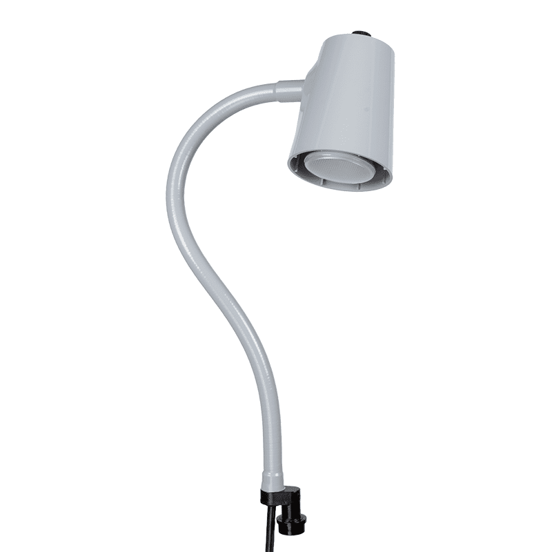 Grey lamp on quick connect base flex arm