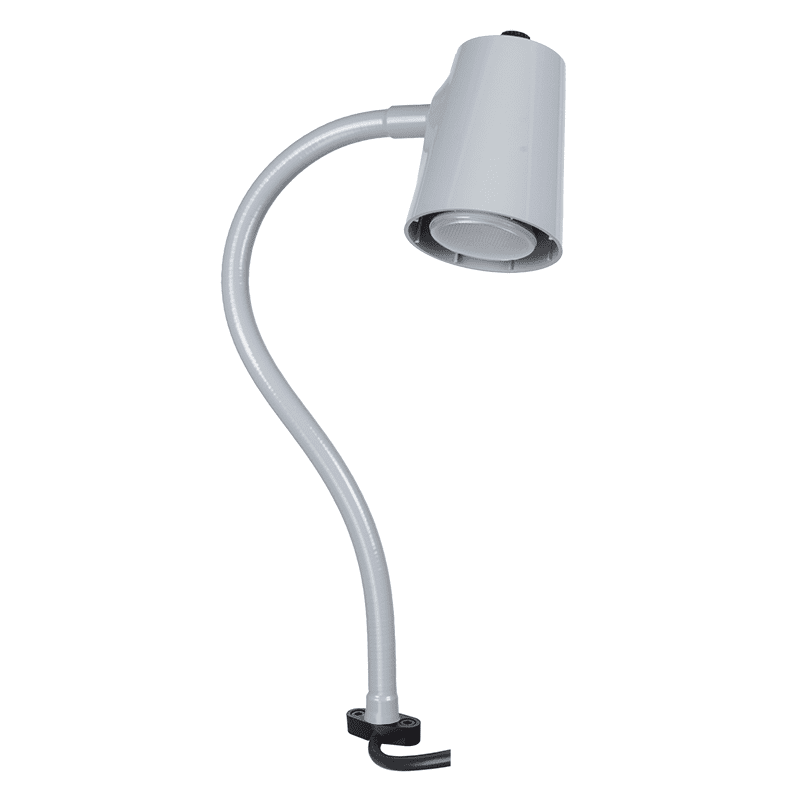 Grey lamp on direct mount flex arm