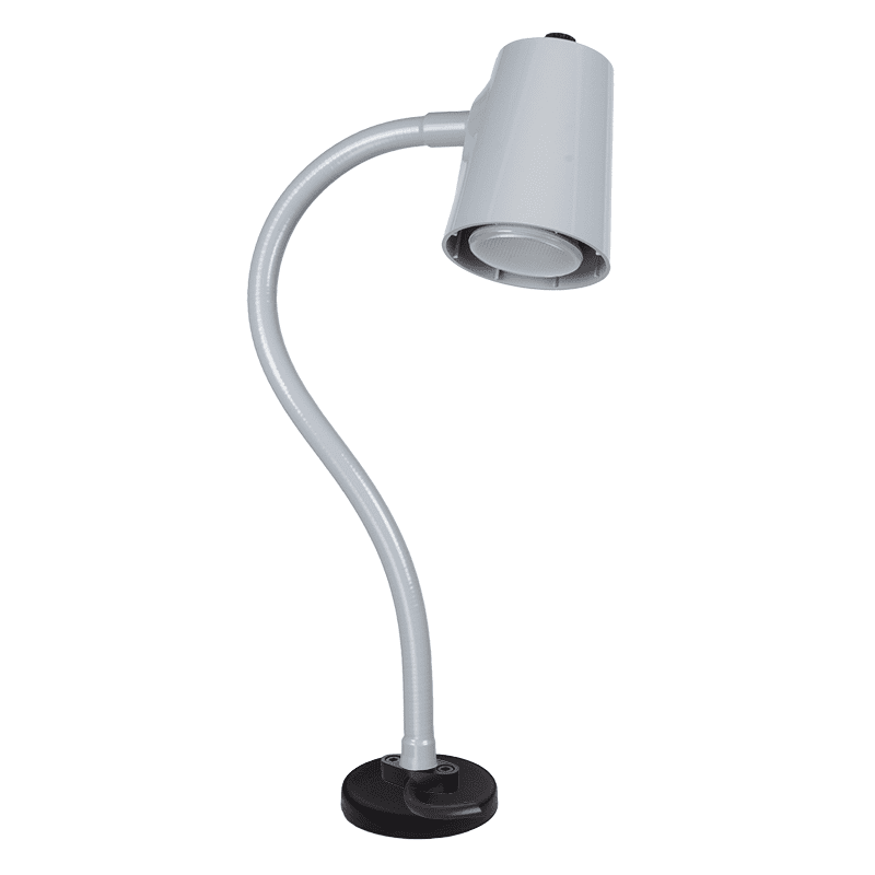 Grey lamp on magnetic base flex arm